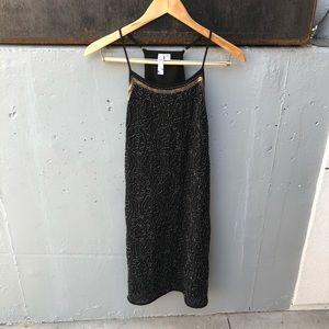 Francesca's Ayla Beaded Black Dress Size M EUC